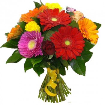 Bouquet colored summer. Gerberas and roses.
