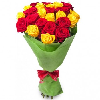 Yellow and Red roses 50 cm. Changeable amount of flowers.