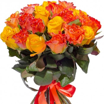 Yellow and orange roses 40 cm. Change amount of rose in bouquet